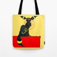 umbreon Tote Bags featuring umbreon noir by HiddenStash Art