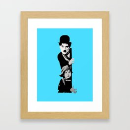 Chaplin and the kid - turquoise Framed Art Print