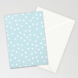 Baby blue background with white stars seamless pattern Stationery Cards