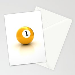 yellow pool billiard ball number 1 one Stationery Cards
