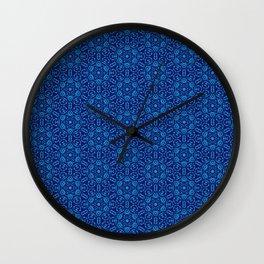Aqua on Blue Batik Organic Pattern Wall Clock