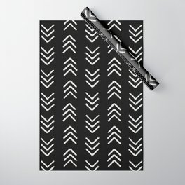 Charcoal & soft white brushed arrow heads, textured background Wrapping Paper