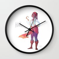 captain hook Wall Clocks featuring Captain Hook by Galaxyspeaking