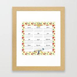 2015 Calendar, Bluebirds and Geraniums Framed Art Print
