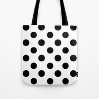polka dots Tote Bags featuring Polka Dots (Black/White) by 10813 Apparel