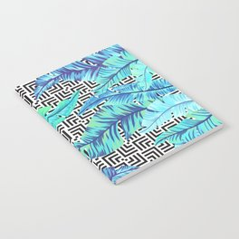 turquoise tropical leaves Notebook