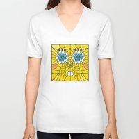 spongebob V-neck T-shirts featuring Spongebob Voronoi by Enrique Valles