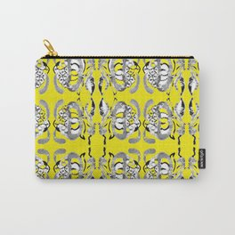 Classic contemporary flower tile design in yellow and grey tones Carry-All Pouch