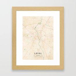 Laval, France - Vintage Map Framed Art Print