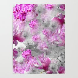 CHERRY BLOSSOMS ORCHIDS AND MAGNOLIA IMPRESSIONS IN PINK GRAY AND WHITE Poster