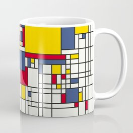World Map Abstract Mondrian Style Coffee Mug