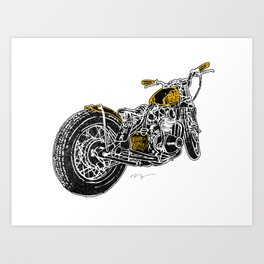 """""""Rootbeer Bobber"""" Custom Motorcycle Art Print"""