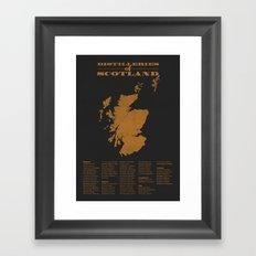 Distilleries of Scotland (woodpress) Framed Art Print