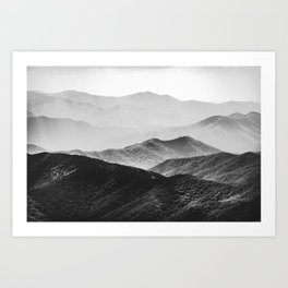Glimpse - Black and White Mountains Landscape Nature Photography Art Print