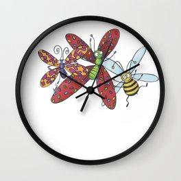 Insects and party Wall Clock