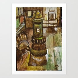 Baldwin's Book Barn interior pot belly Art Print