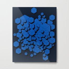 3D Cobalt blue Cubes Metal Print