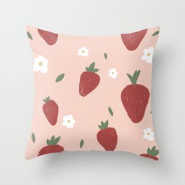 Cute Strawberries and Flowers Nature Print Throw Pillow