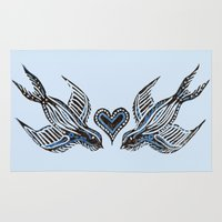 swallow Area & Throw Rugs featuring Swallow love by Isobel Woodcock Illustration
