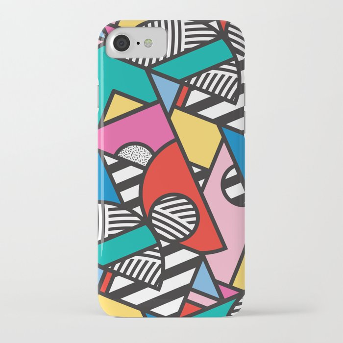colorful memphis modern geometric shapes iphone case