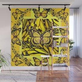 GOLDEN YELLOW MONARCH BUTTERFLIES MELODY Wall Mural