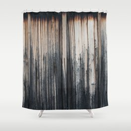 Weathered wood wall Shower Curtain