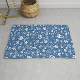 Snowflake Snowstorm With Sky Blue Background Rug
