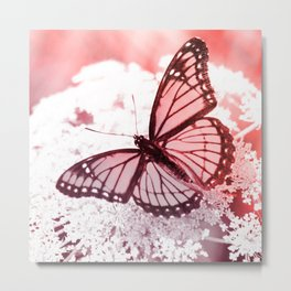 monarch butterfly rose pink aesthetic wildlife art altered photography Metal Print