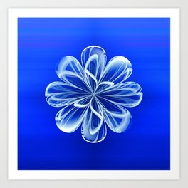 White Bloom on Blue Art Print