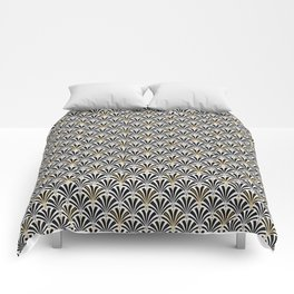 Art Deco Fan Pattern, Black and White Comforters