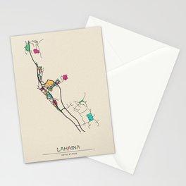 Colorful City Maps: Lahaina, Hawaii Stationery Cards