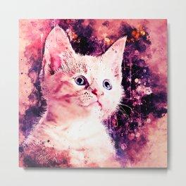 cute white stare gaze kitty splatter watercolor Metal Print