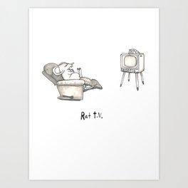 Rat TV Art Print