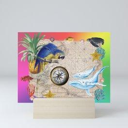 Tropical Paradise Rainbow Collage Mini Art Print
