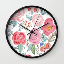 Watercolor Floral Print Wall Clock