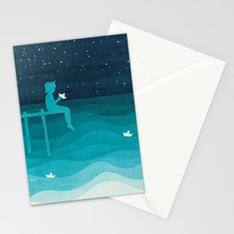 Boy with paper boats, watercolor teal art Stationery Cards