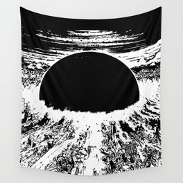 cyberpunk city explosion Wall Tapestry