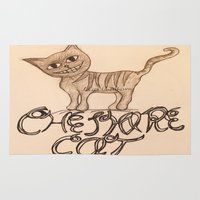 cheshire cat Area & Throw Rugs featuring Cheshire Cat by meowkitty17