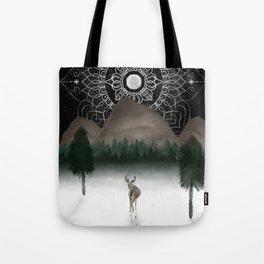 Deer and Moon Design Color Tote Bag