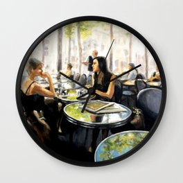 Paris Cafe Reflections painting by Bonnie Parkinson Wall Clock