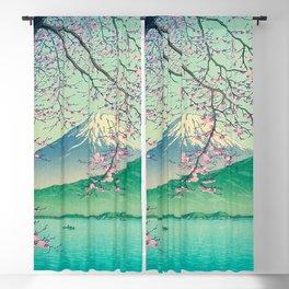 Kawase Hasui Title- Mt. Fuji from Kishio Vintage Japanese Woodblock Print East Asian Cultural Art Blackout Curtain