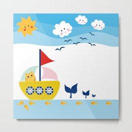 Sailing Cat Metal Print