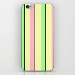 Vintage Victorian Style Stripes - Yellow Green Pink iPhone Skin