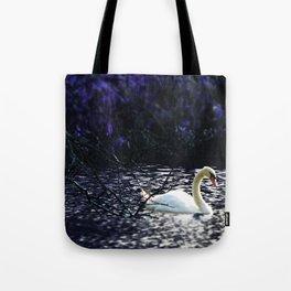 Midnight Drift.  Purple Ocean Swan at Night. Tote Bag