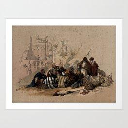 Vintage Print - The Holy Land, Vol 3 (1843) - Conference of Arabs at Wadi Moosa, Petra Art Print