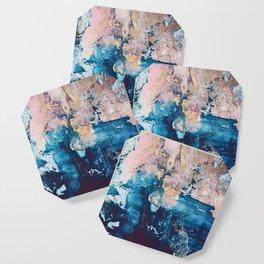 Breathe Again: a vibrant mixed-media piece in blues pinks and gold by Alyssa Hamilton Art Coaster