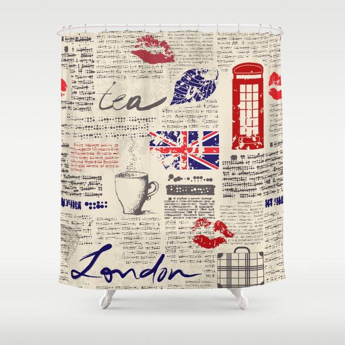 British Newspaper Style Shower Curtain