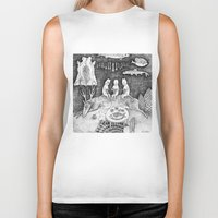 knitting Biker Tanks featuring Knitting Cats by Ulrika Kestere