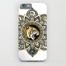 Black and Gold Roaring Tiger Mandala With 8 Cat Eyes iPhone Case