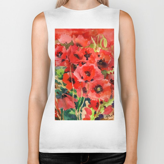 Red Poppies red floral pattersn texture poppy flower design Biker Tank